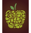 apple with fruits and vegetables pattern vector image