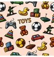 Seamless toys handdrawn pattern with - car duck vector image