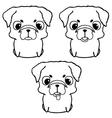 Set of pug puppies Hand drawn vector image