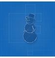 Snowman symbol drawn as blueprint vector image