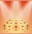 golden scene with red hearts and lighting vector image
