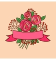 Vintage rose bouquet with ribbon vector image