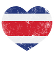 Costa Rica retro heart shaped flag vector image vector image