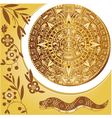 Aztec calendar in gold vector image