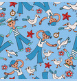 doodle seamless pattern sailor and gull vector image