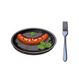 grilled barbequed sausage served on frying pan vector image