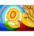 Hand-drawn seasonal background with tree and sun vector image