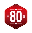 Sale eighty percent off banner red patch vector image