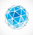 dimensional wireframe low poly object blue vector image