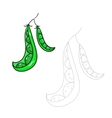 Educational game connect dots to draw peas vector image