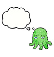 cartoon alien squid face with thought bubble vector image