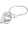 cartoon of female woman head with empty speech vector image