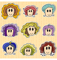 Cute hand drawn smiling faces vector image