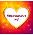 golden frame valentines greeting card vector image