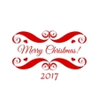 Merry Christmas red badge over white vector image