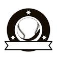 monochrome emblem with baseball ball and ribbon vector image