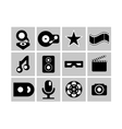 Black and white cimena and music icons vector image