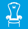 king throne chair icon white vector image