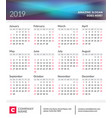 calendar poster for 2019 year week starts on vector image