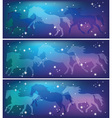 ghostly horses on a background of the sky vector image vector image