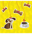 label of dog accesories containes bones food and d vector image