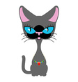 Beautiful cat with necklace of precious stones vector image