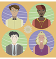 Set of four cartoon avatars - men 02 vector image