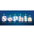 SOPHIA written with burning candles vector image