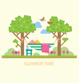 Summer landscape with a hammock vector image