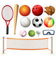 volleyball net and different types of balls vector image vector image