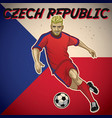 czech republic soccer player with flag background vector image