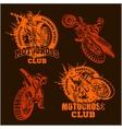 Motocross sport emblem vector image vector image