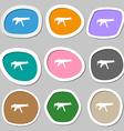 machine gun icon symbols Multicolored paper vector image