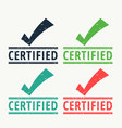 certified rubber stamp with check mark vector image