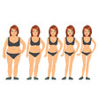 girl young woman before and after diet and vector image