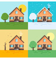ector flat style of houses in different seasons vector image