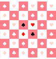 Card Suits Pink White Chess Board Background vector image