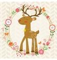 Cute dear in floral wreath vector image