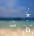 lighthouse sailboat island ocean on seascape vector image