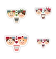 Set of paper stickers on white background boy girl vector image