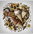 cartoon cute doodles hand drawn ice cream vector image
