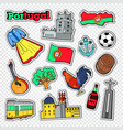 travel to portugal stickers badges and patches vector image