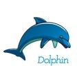 Cute cartoon dolphin character vector image