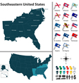 Map of Southeastern United States vector image