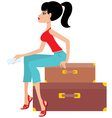woman sits on a suitcase and holds the ticket vector image