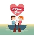 Couple on boat icon Love design graphic vector image