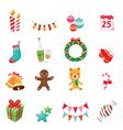 Christmas Ornaments Icons Set vector image