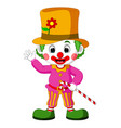 funny clown using hat vector image