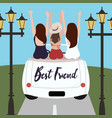 group of best friends cheering on car road trip vector image