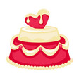 wedding cake with pink heart bridal decor vector image